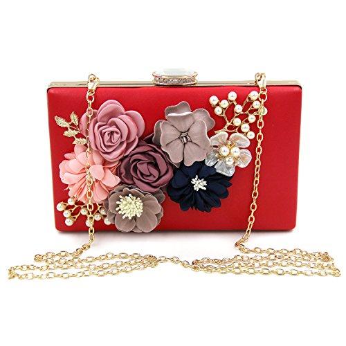 Purse Evening Wedding Flower Milisente Handbags Clutch Bags Women Red Clutches q8pnnFA