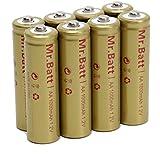 Mr.Batt NiCd AA Rechargeable Batteries for Solar Lights, 1000mAh 1.2V (Pack of 8)