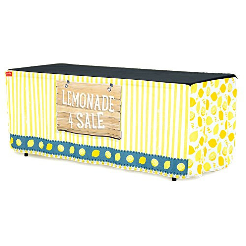 Kids Lemonade Stand - HIDEABOO Lil' Biz Polyester Easy Lemonade Stand 6 Foot Folding Table Cover, Classic Yellow and White