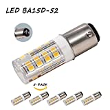 BA15D Double Bayonet Sewing Machine LED Light Bulb AC110V-130V 4 Watt Warm White 2700K Dmmable 52x2835SMD (Pack of 5)