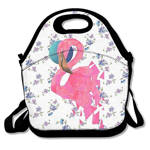 Ojinwangji Geometric Flamingo Lunch Bag Thermal Bags Outdoor Picnic Meal Package For Boys Girls Women Kids