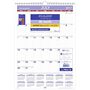 at a glance academic wall calendar july 2017 june 2018 12 x 17 wirebound. Black Bedroom Furniture Sets. Home Design Ideas