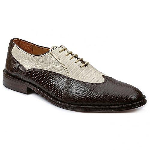 Tip Wing Bone - Giorgio Brutini 21007 Mens Bal Wing Tip Lizard Prt Oxford Shoes,Choc Brn/Bone,10W