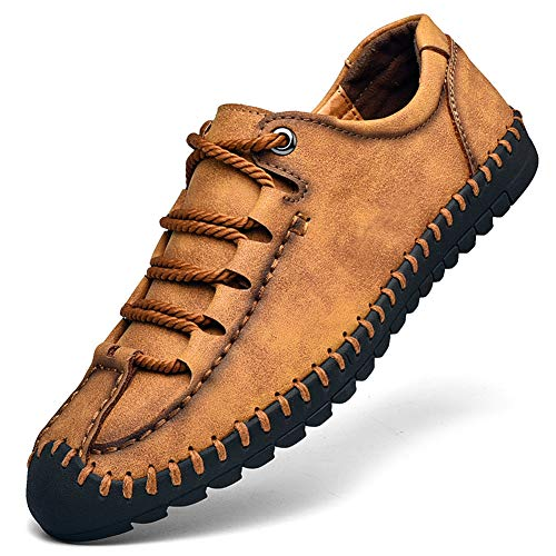 (Qiucdzi Men's Casual Penny Loafers Breathable Lace-up Driving Boat Shoes Handmade Flats Dress Shoes Brown )
