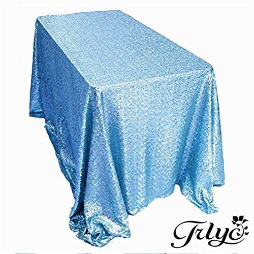 TRLYC 60 x 120-Inch Rectangular Sequin Tablecloth Aqua Blue