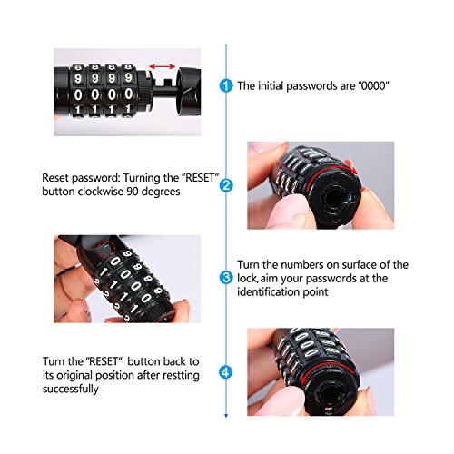 BIGO Bicycle Chain Lock Resettable Combination Bike lock Open with Password,120cm/47.24inch by BIGO (Image #4)