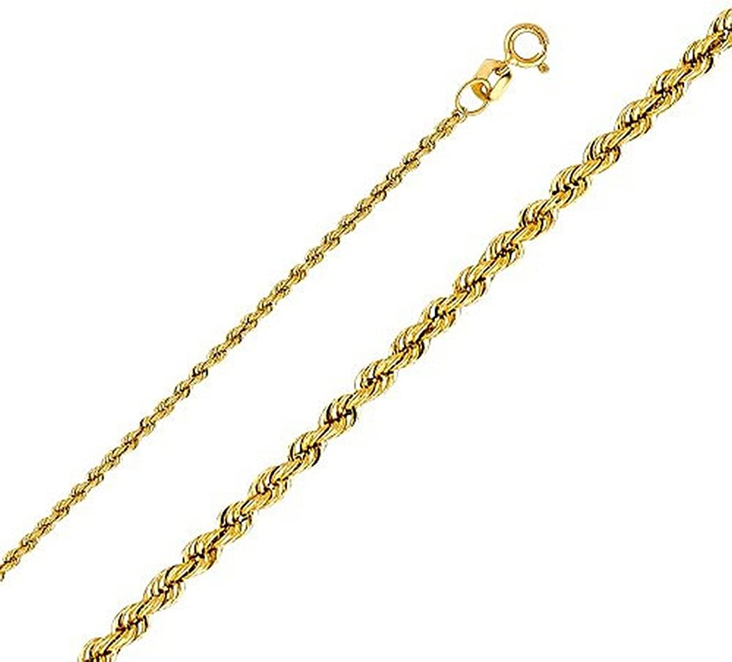 Jawa Jewelers 14K Solid Yellow Gold Men Womens 1.5MM Rope Chain Spring Clasp