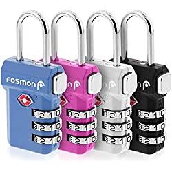 Fosmon TSA Approved Luggage Locks, (4 Pack) Open Alert Indicator 3 Digit Combination Padlock Codes with Alloy Body and Release Button for Travel Bag, Suit Case & Luggage - Blue, Pink, Silver, Black