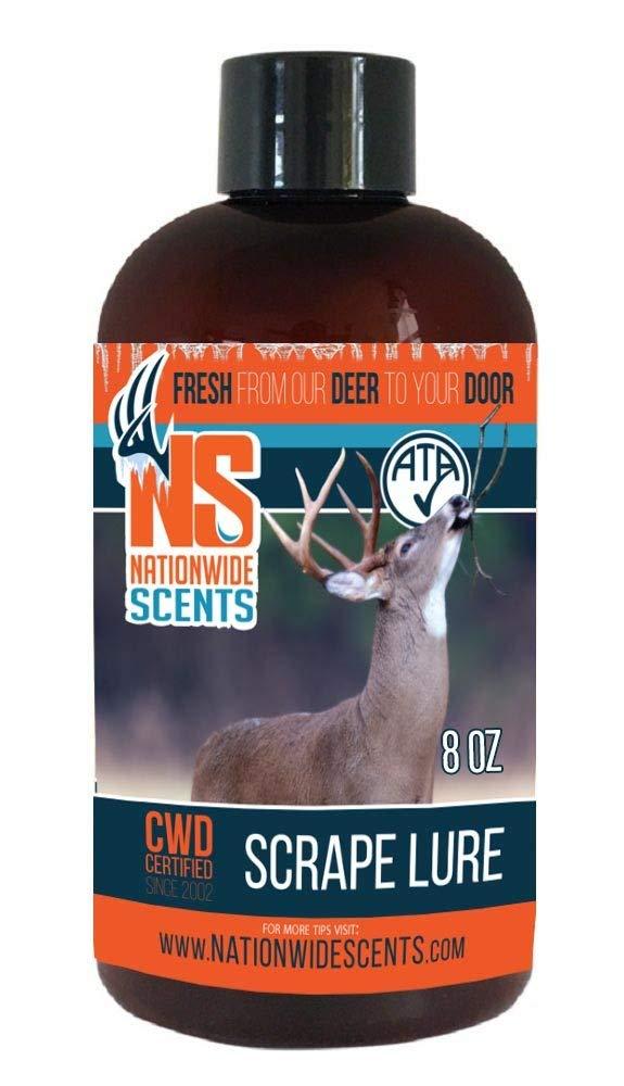 Nationwide Scents Deer Attractant Scent Lure, Purest, Fresh UNFROZEN Natural Whitetail Deer Pheromones Scrape, 8 Ounce Gallon