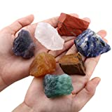 SUNYIK 7 Chakra Stones Set,Natural Rough Raw Stone Tumbling,Cabbing,Crystal Healing Raw Stones