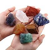 SUNYIK 7 Chakra Stones Set,Natural Rough Raw Stone for Tumbling,Cabbing,Crystal Healing Raw Stones