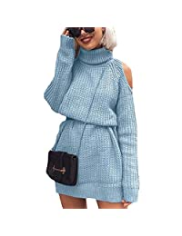 EISHOW Women Long Sleeve Dress Cold Shoulder Autumn Loose Knitted Tunic Oversized High Neck Sweater Pullover Top