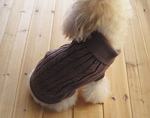 FAMI Cute Pet Clothes, European Classical Pet Sweater, Turtleneck Dog Sweater with Classic Aran Knit (S, Brown) ¡