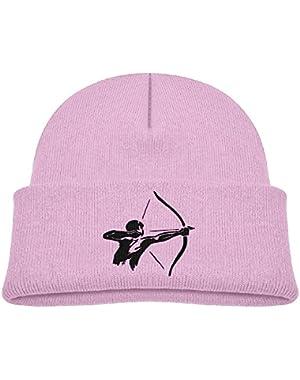Kids Humor Man Practices Archery Black Casual Flexible Winter Knit Hats/Ski Cap/Beanie/Skully Hat Cap