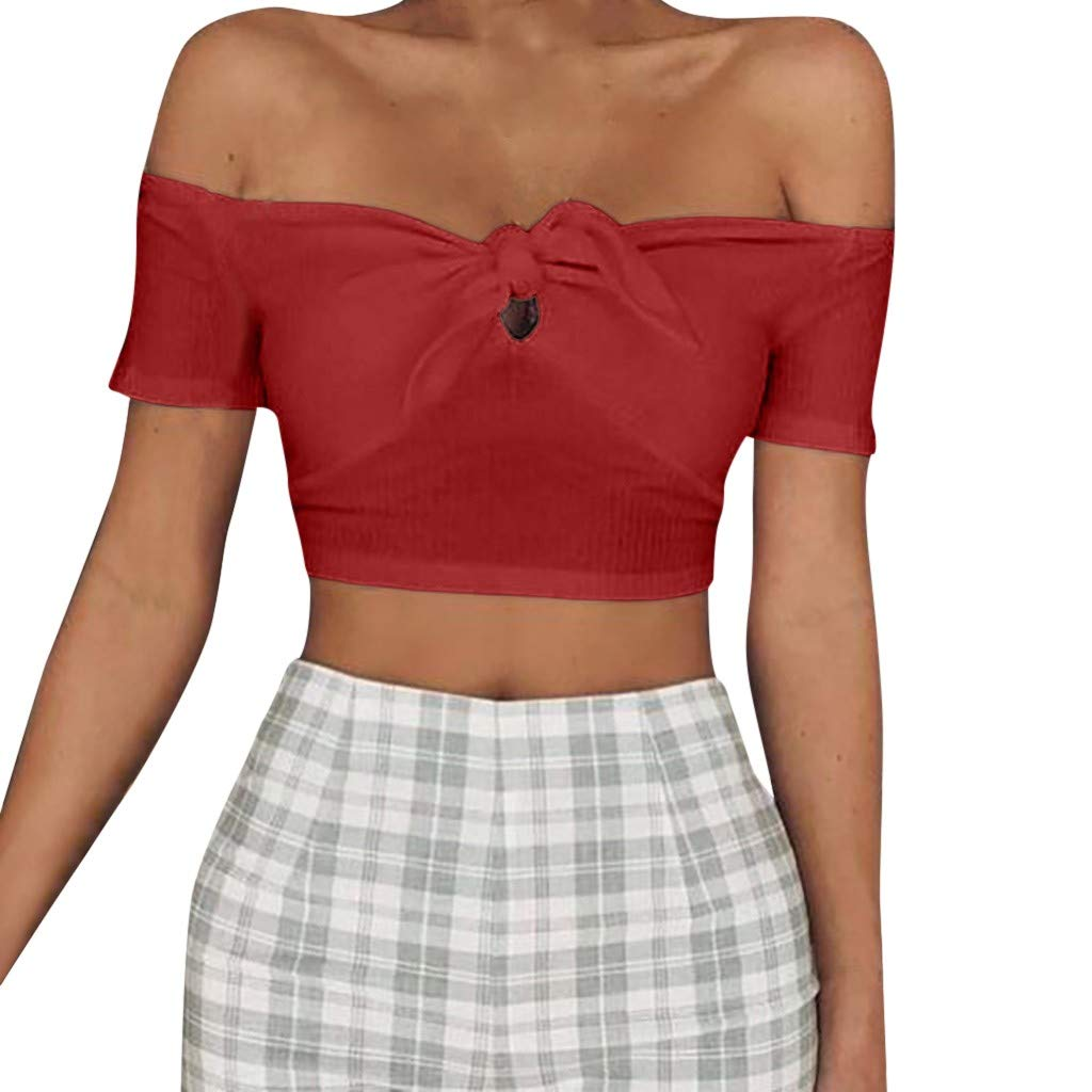 TIFENNY Women's Solid Sexy Tube top Off Shoulder Strapless Vest Bow Knot Tank Top Crop Blouse Shirt Red