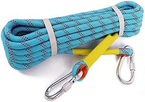 クライミングロープ、屋外用安全ロープの耐摩耗性のあるクライミングロープレスキューロープレスキュー装置、直径12 mm、青。,20m