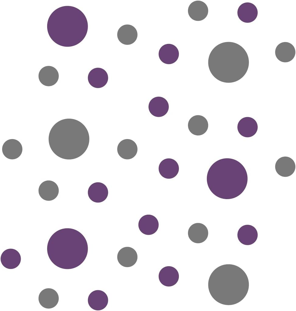 Grey/Purple Vinyl Wall Stickers - 2 & 4 inch Circles (30 Decals)