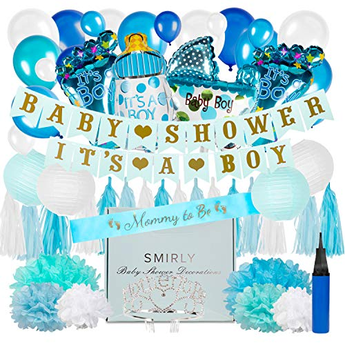 Hanging Decorations For Baby Shower (Baby Shower Decorations for Boy Kit: Blue, White, and Champagne Gold Party Decor - Its A Boy Banner, Balloons, Tissue Paper Pom Poms and Hanging Lantern Decoration Bundle - Includes)