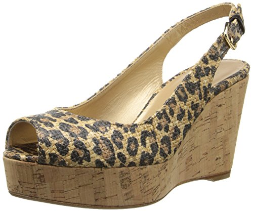 Leopard Print Wedge Slingback - Stuart Weitzman Women's Jean Wedge Sandal, Caramel Leo, 9.5 M US