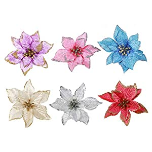 Artificial Fowers 15Cm Christmas Flowers Xmas Christmas Tree Decorations Glitter Wedding Party Artificial Flowers Decor 6 Colors Drop Shipping,Silver 2