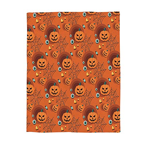 Flannel Fleece Blanket Happy Halloween Pumpkin Spider Net Eyeballs Clipart Bed Blanket Super Soft Warm Cozy for Baby/Girl/Boy/Adult/Travel Size 49x59in(125x150cm)]()