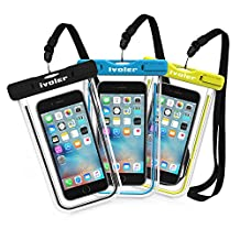 Waterproof Bag, [3 Pack] iVoler Clear Universal Snowproof Dirtproof Dry Bag Pouch for 6 / 6s Plus, iPhone 7, 7 Plus, SE 5S 5C, Samsung Galaxy S6/S6 Edge, Cell Phone up to 6 inches (Blue + Bright Green+Black)