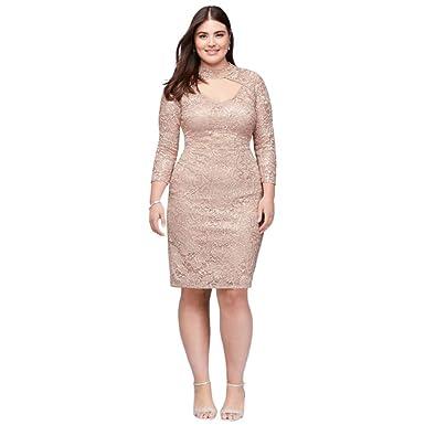 Davids Bridal Sequin Lace Plus Size Cocktail Dress With Keyhole