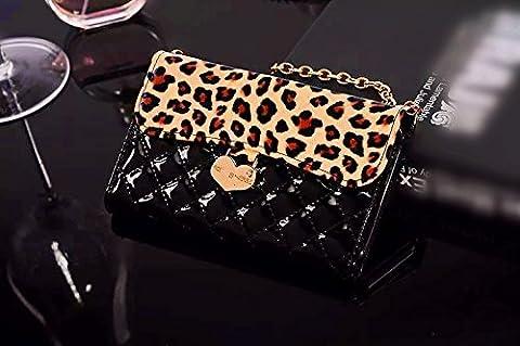 Luxury Charm black Leopard Leather Handbag Wallet Purse Cover Case For Alcatel One Touch Pop Mega LTE A995G (Alcatel A995g Lte Phone Cover)