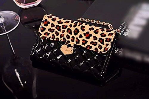 Luxury Charm black Leopard Leather Handbag Wallet Purse Cover Case For Smart Mobile Phones(LG Optimus L70/Exceed 2/MS323/VS450PP )