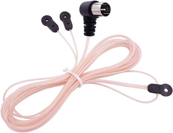 Fancasee - Antena FM para interior (75 ohmios, tipo T, antena de dipolo tipo Y, conector macho F macho, cable coaxial, antena de radio FM, para mesa, ...