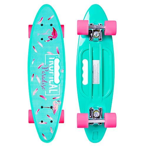 Merkapa Complete 22 inch Fishtail Cruiser Skateboard for Youth, Beginners (Mint Green) (Best Cruiser Skateboard For Beginners)