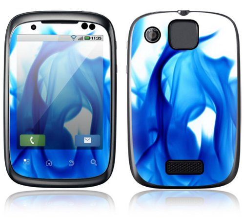 Motorola Spice Decal Phone Skin Decorative Sticker w/ Matching Wallpaper - Blue Flame