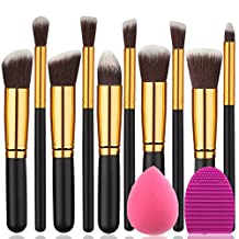 BEAKEY Makeup Brush Set Premium Synthetic Kabuki Foundation Face Powder Blush Eyeshadow Brushes Makeup Brush Kit with Blender Sponge and Brush Egg (10+2pcs,GOLD-BLACK)