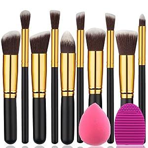 BEAKEY Makeup Brush Set Premium Synthetic Kabuki Foundation Face Powder Blush Eyeshadow Brushes Makeup Brush Kit with Blender Sponge and Brush Egg (10+2pcs,GOLD-BLACK)