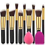 premium BEAKEY Makeup Brush Set Premium Synthetic Kabuki Foundation Face Powder Blush Eyeshadow Brushes Makeup Brush Kit with Blender Sponge and Brush Egg (10+2pcs,GOLD-BLACK)