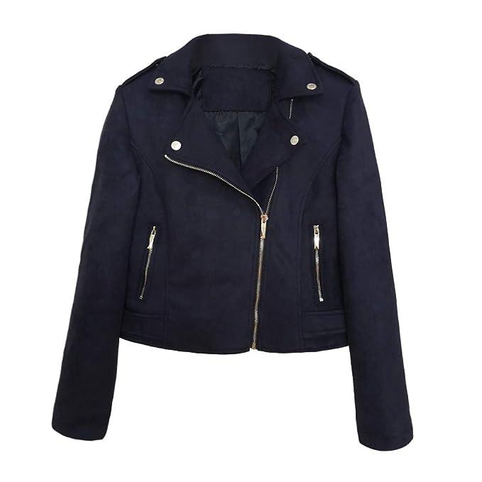 Domybest Wildleder Jacke Damen klein übergangsjacke Winterjacke Revers Reißverschluss einfarbig für Frühling Herbst Winter