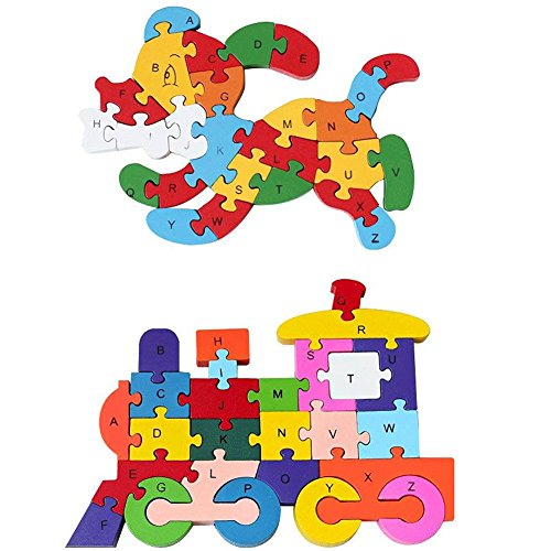 - Childrens Jigsaw, Alphabet Number Blocks Wood Animal Puzzle Kid Toy, Dog &Train
