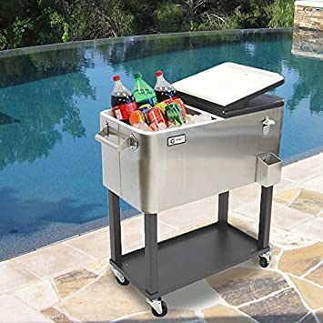 Patio Beverage Cooler Cart Durable Stainless Steel 80QT/20Gal/24 Can  Capacity  Picnics