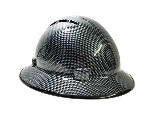 Vented Carbon Fiber - HardHatGear Custom Hydro Dipped VENTED Full Brim Hard Hat in CARBON FIBER DESIGN (Not Real Carbon Fiber) in Black/Silver- Made in USA by ERB