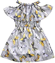 Becoler Summer Baby Girl Dress Sleeveless Ruffle Shoulder Butterfly Kids Party Clothes