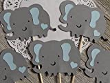 Grey Elephants with Light Blue Ears and Hearts Cupcake Toppers - Elephant and Hearts Baby Boy Shower 1.5 inches tall (Set of 12)
