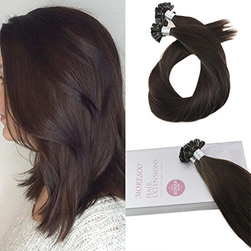 Moresoo 18 Inch U Tip Brazilian Hair Extensions Remy Human Hair Fusion Extensions Color #2 Darkest Brown Nail Tip Pre Bonded Human Hair Extensions 1g/1s 50G ()