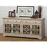 Jofran 675-9, Craftsman, 70 Media Unit, 70 W X 19 D X 32 H, Antique Cream Finish, (Set of 1)