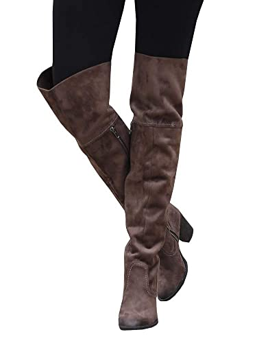 unparalleled best sneakers 2019 best Ermonn Womens Over The Knee Riding Boots Wide Calf Chunky Heel Thigh High  Combat Boots Winter Shoes