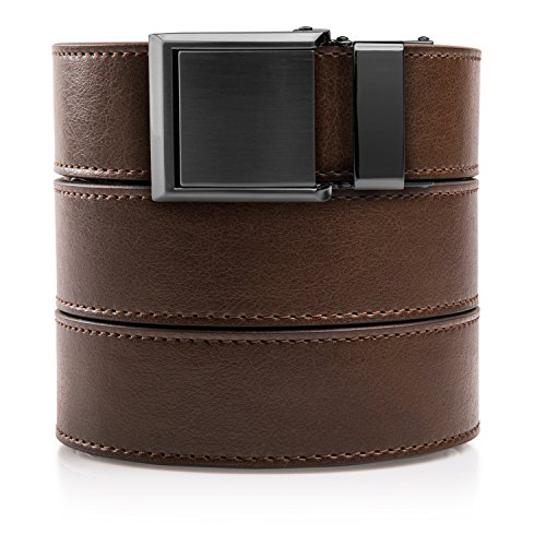 Animal-Friendly Mocha Brown Leather with Square Gunmetal Buckle