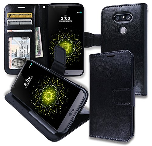 [LG G5 [ Wallet ] Case, LG G5 Soft Leather Flip Diary Cover with [ Foldable Stand ] Pockets for ID, Credit Cards, Cash, Kickstand Features] (Lady Gaga Video Costumes)