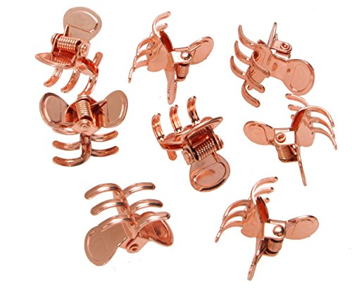 L. Erickson Clip & Go Mini Metal Jaw Hair Clips, Rose Gold, Set of 8 - Strong Hold For Easy Styling Solutions
