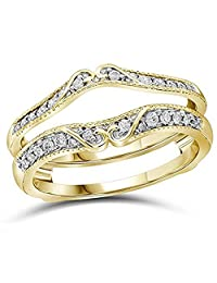14k Yellow Gold Plated Antique Vintage Simulated Diamond Ring Guard Wrap Solitaire Enhancer