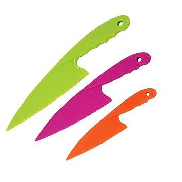 Newin Star Cuchillo de plástico,Cuchillo para niños,Cuchillo de cocina Cuchillo para corta verduras Juego Cuchillo para niños set de 3pcs