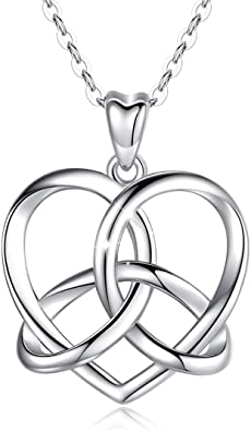 Celtic Jewelry for Women High Polished Stainless Steel Heart Shaped Celtic Knot Necklace